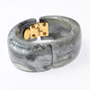 Grey resin hinged wide bangle bracelet