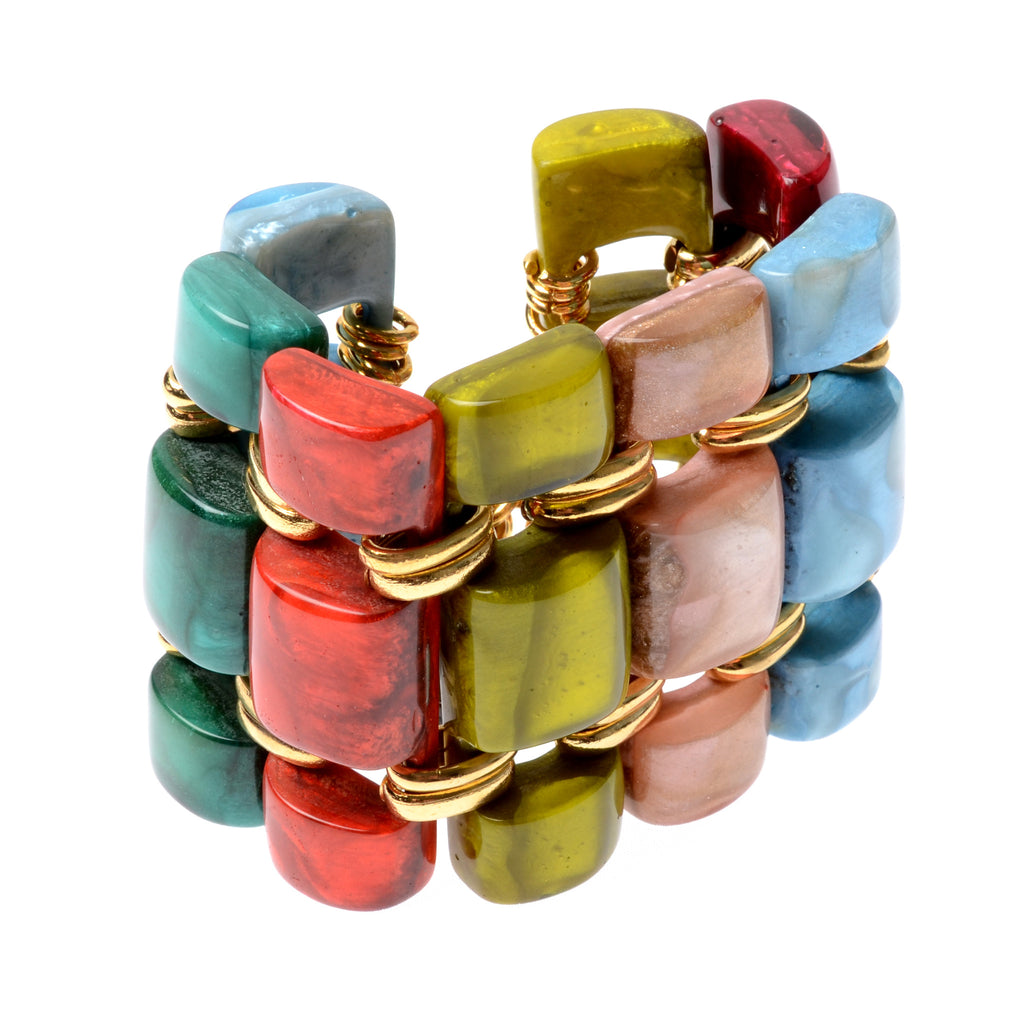 Wide connected rectangular resin bracelet with gold-fill connectors and clasp
