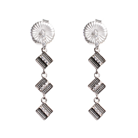 Deco triple drop diamond shape earrings with post in sterling silver and crystals