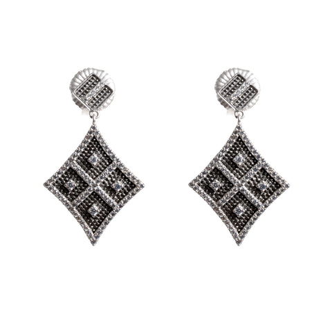 Deco drop diamond shape earrings with post in sterling silver and crystals