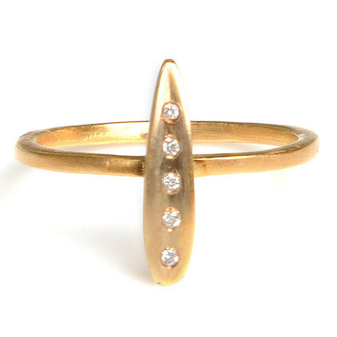Branch Design tiny leaf ring with diamonds in 18kg