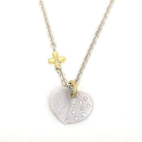 "Diamond encrusted sterling silver heart necklace on a 16"" chain"