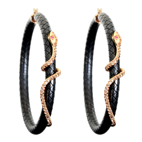 "Large 2.25"" diameter leather hoop earrings with 18krg and diamond snake"