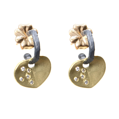 Diamond encrusted 18kyg heart earrings with oxidized sterling hoop on gold posts