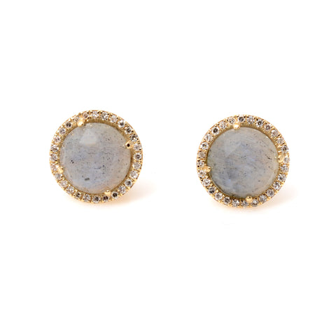 Round labradorite post earrings in 14kyg with diamond surround