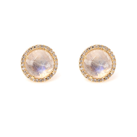 Round moonstone post earrings in 14kyg with diamond surround