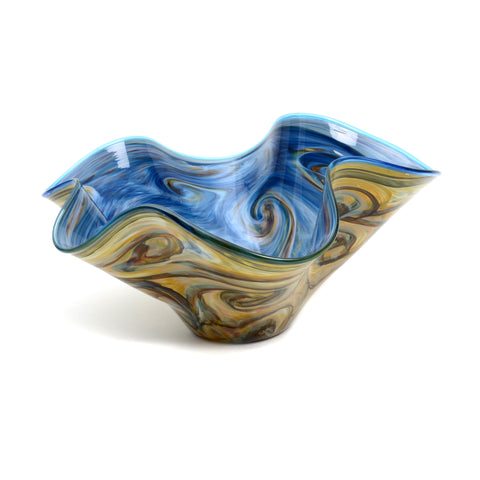 Hand-blown scalloped bowl