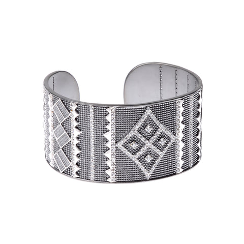 Sterling silver deco cuff with geometric design in white crystals