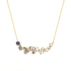 Large cluster necklace with sapphires and tanzanite