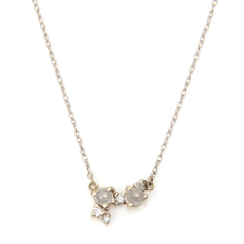 Small cluster necklace with grey and brilliant diamonds