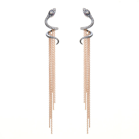Snake earrings with diamonds and gold fringe