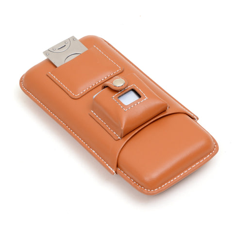 Three cigar holder with cutter and lighter in tan leather case