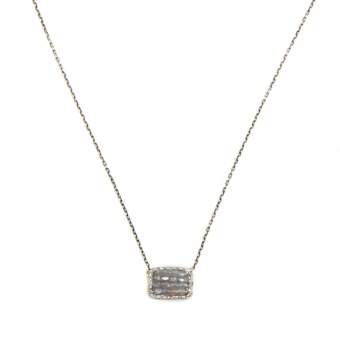 "Small square grey diamond necklace on 16-17"" chain"