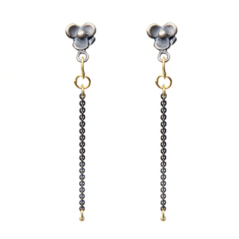 "Earring with 2"" oxidized sterling single fringe with 18kyg teardrop ends on flower post"