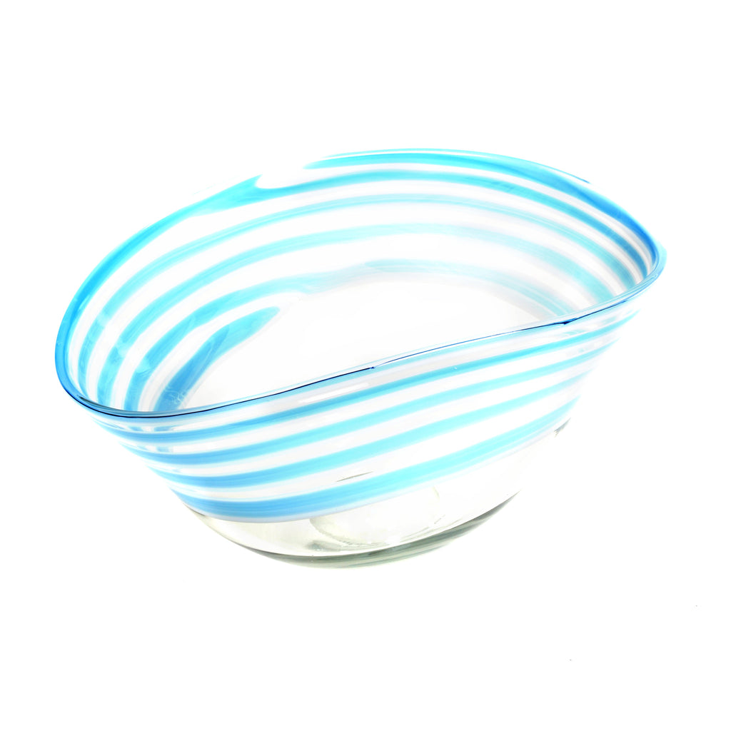"Light blue organic shaped oval circle bowl, approximately 15"" wide x 9"" wide x 8.25"" tall"