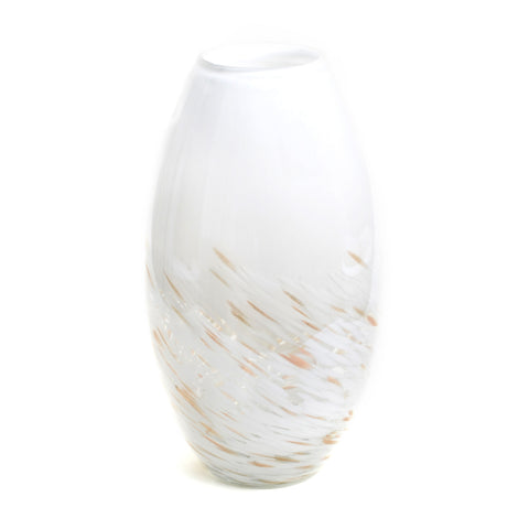 "Large white and white swirl vase, approximately 13"" tall by 6"" wide"