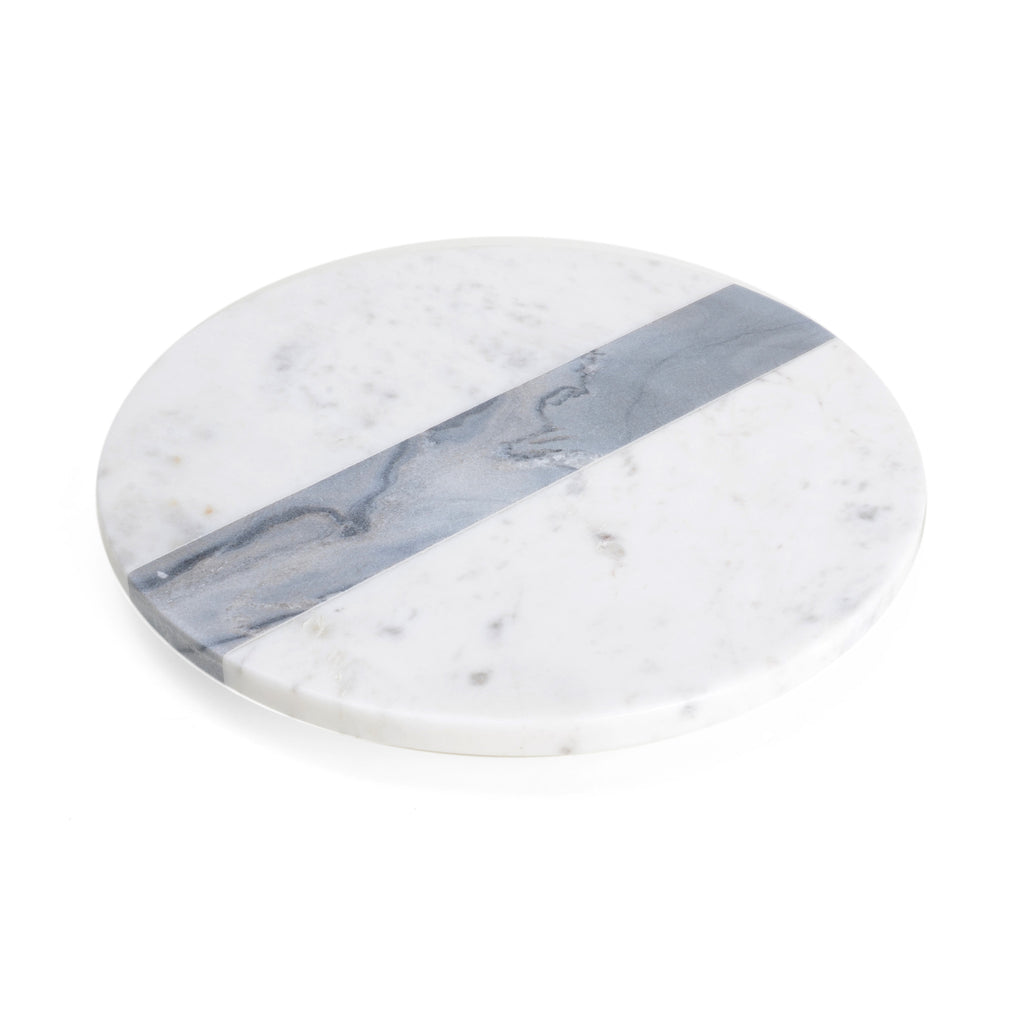 Round white and grey marble cheese board