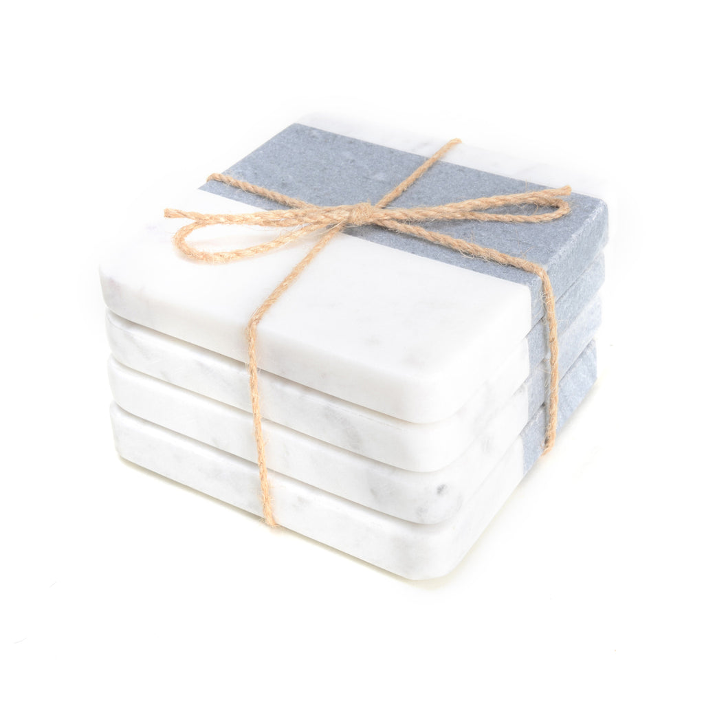 Square white and grey marble coasters