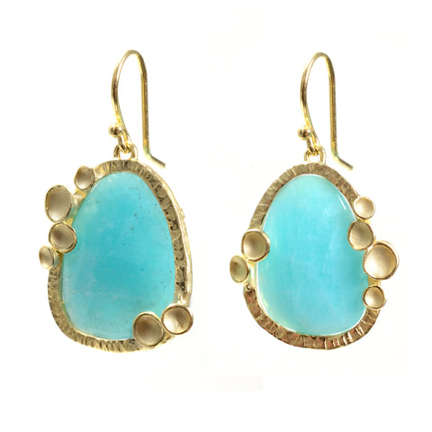 Amazonite earrings with pod halo in 18k gold vermeil on a wire