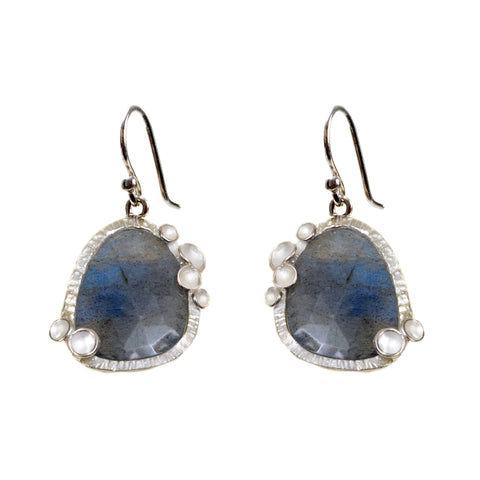 Labradorite earrings with pod halo in sterling silver on a wire