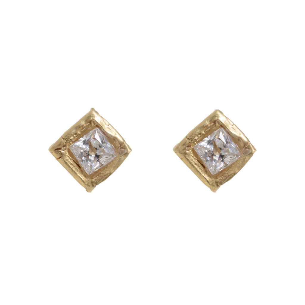 Diamond shaped crystal drop earring in gold vermeil on post