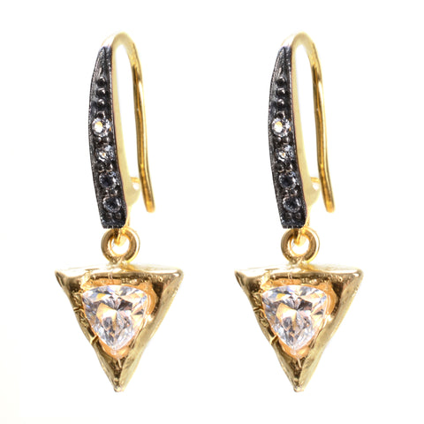Triangle shaped crystal drop earring in gold vermeil with white topaz in oxidized silver on wire