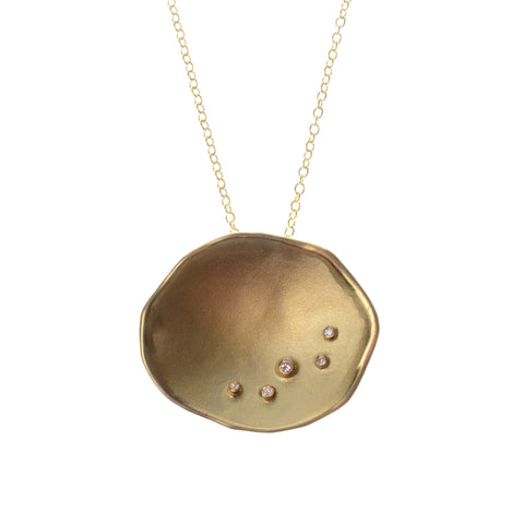 "Extra large dish pendant in 18k gold vermeil with 5 encrusted diamonds on a 16"" chain"