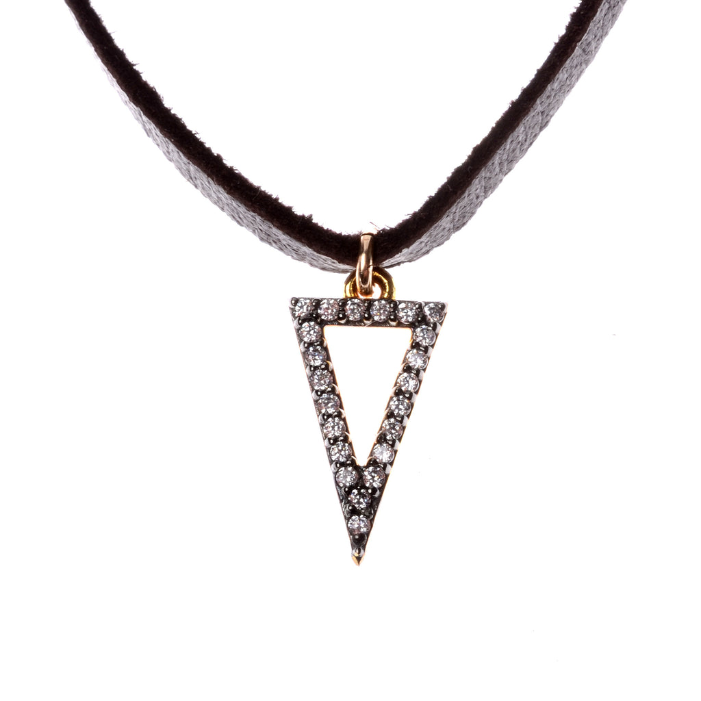 Crystal triangle pendant on leather choker