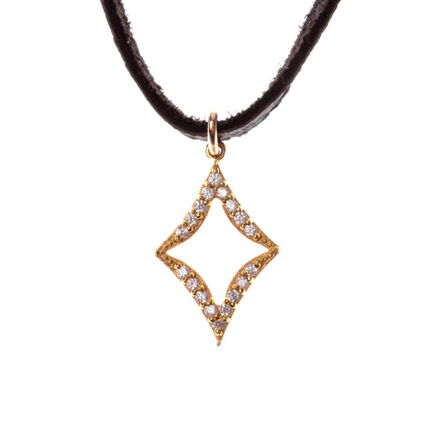 Diamond shaped crystal drop pendant in gold vermeil  on leather choker