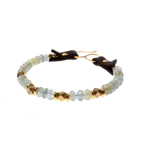 Moss aquamarine bracelet on leather