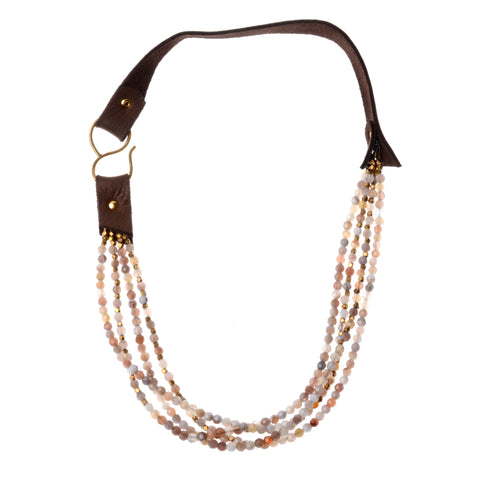 Botswana 4-strand necklace on leather