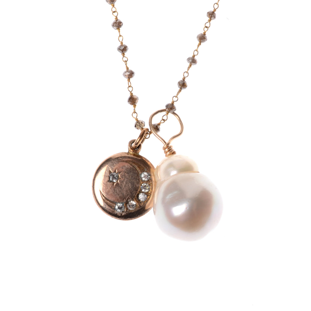 "Tahitian pearl pendant with vintage 14kyg round charm with star and moon in diamonds on 17"" brown diamond chain"