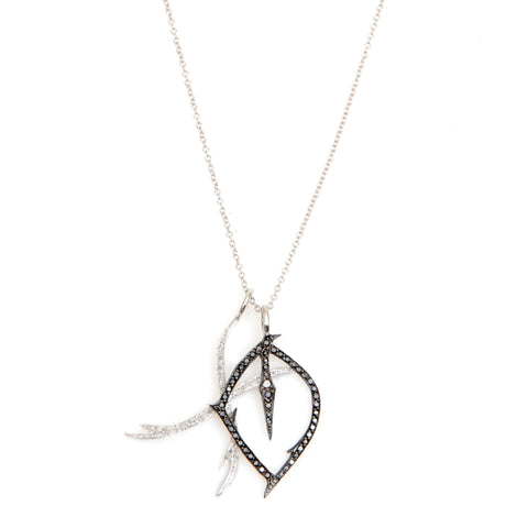 """XO"" necklace in black and white diamonds and 14kwg, 16"" chain"