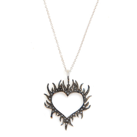 "Medium heart on fire, black diamonds, on 18"" white gold chain"
