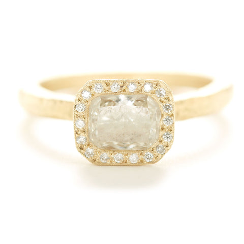 Dawes Design hammered Band with 1.17 Cushion Cut diamond surrounded by 16 diamond pave halo