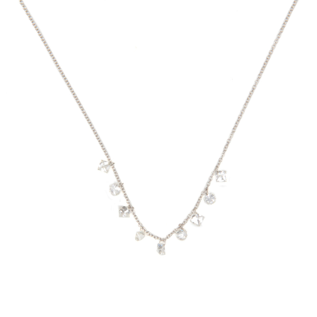 "White gold necklace with 9 geometric diamond shapes, 1.12 tcw on 16"" chain"