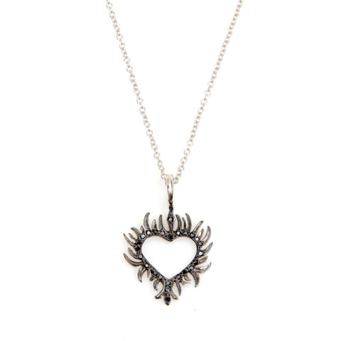 "Small heart on fire, black diamonds on 16"" white gold chain"