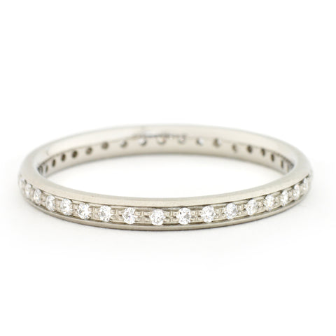 Anne Sportun 2 mm half pave-single row band with 20x.005 ct diamonds