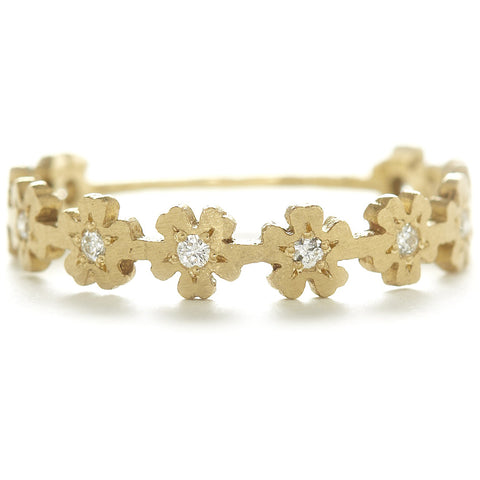 Dawes Design 18k relic flower band with 10 white diamonds for .1tcw