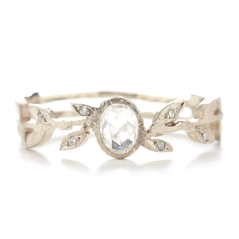 Dawes Design 18k relic vine band with white diamond center stone and 6 scattered diamonds