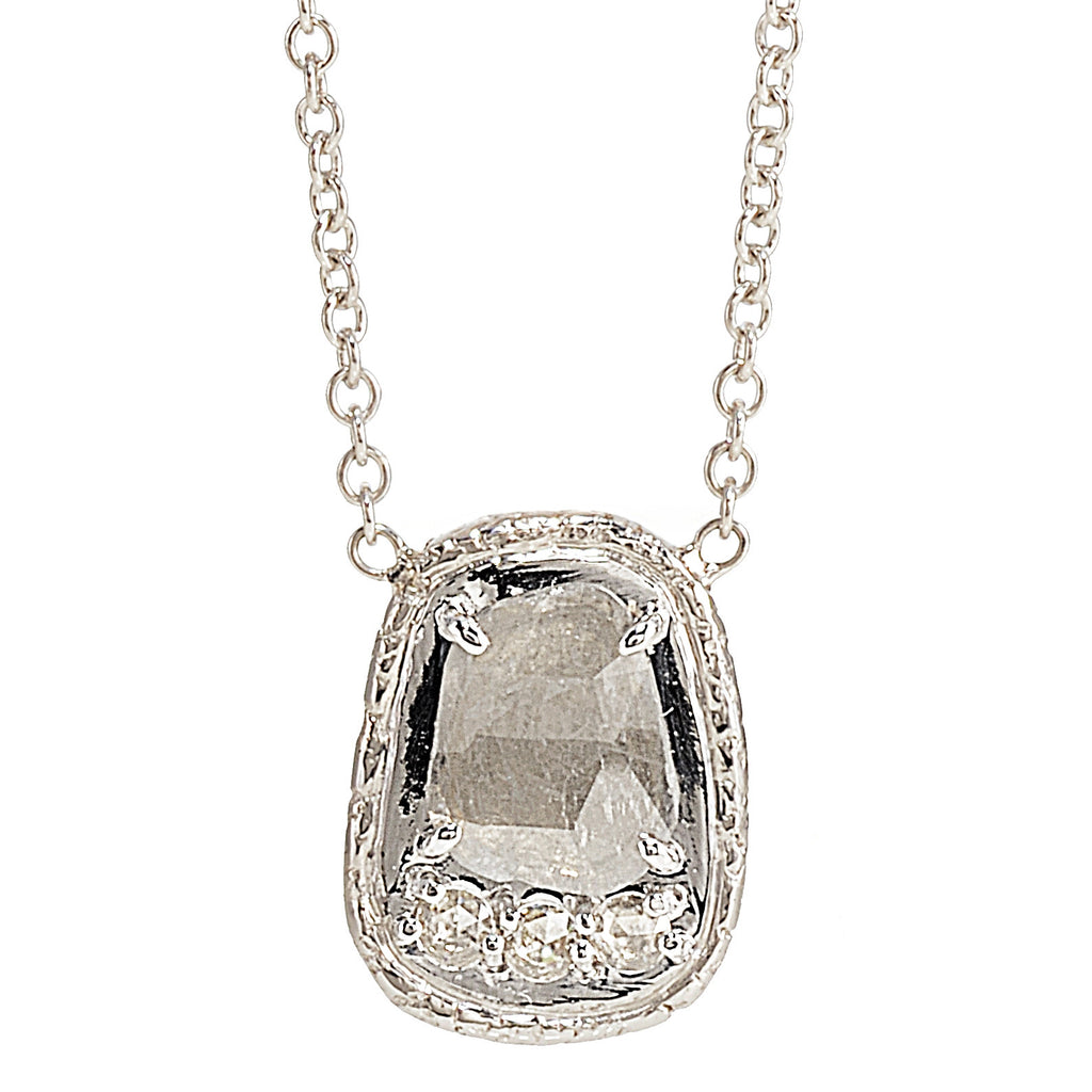 Pendant with diamond slice and rose cut diamonds in 18k white gold