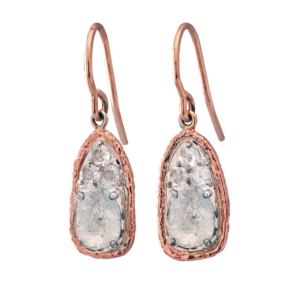 Earrings in 18k gold with diamond slices and rose cut diamonds
