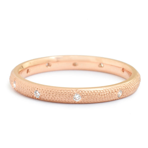 Anne Sportun stardust design band with .11 tcw scattered diamonds