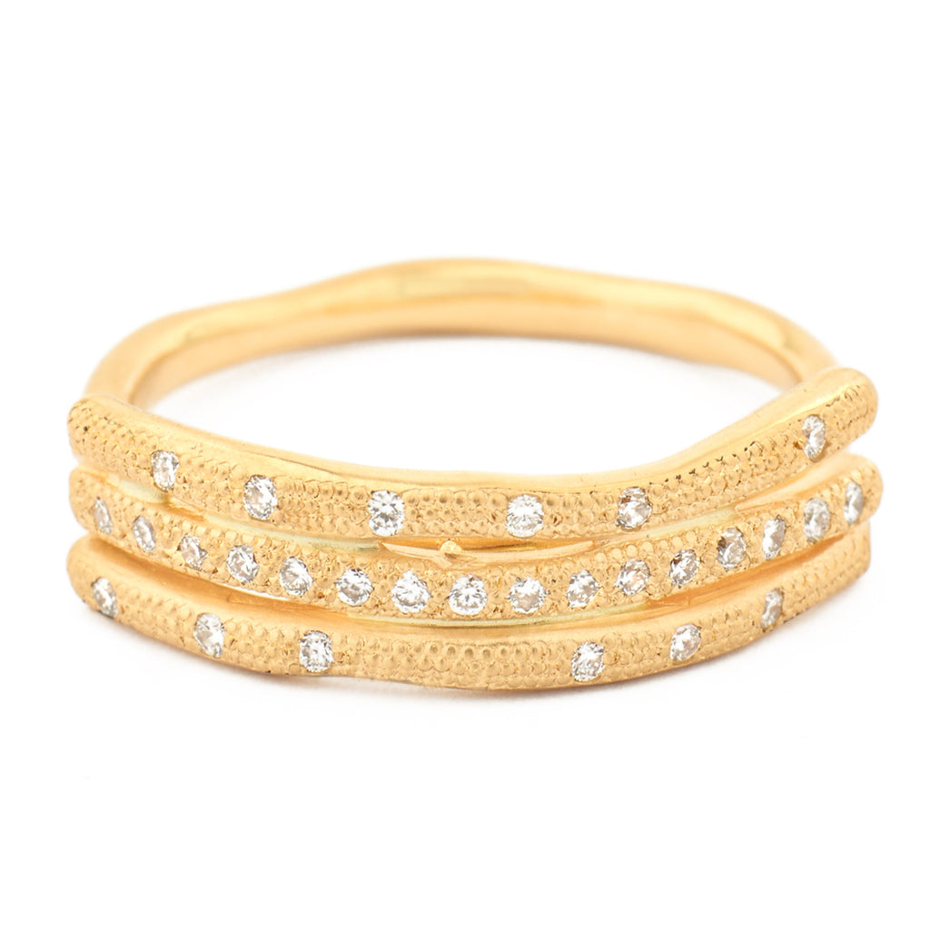 Anne Sportun 18kyg stick ring with 3 horizontal stacked textured sticks set with diamonds