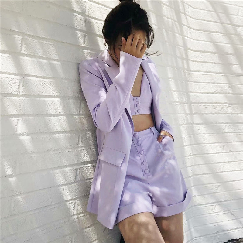 3 Piece Set High Street Solid Shorts Casual Suit Blazer With Sexy Cami in Romantic Violet Color - BLANC BLANK
