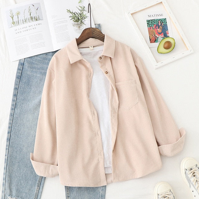 Corduroy Shirts Womens Tops And Blouses Long Sleeve Spring Ladies Solid Loose Boyfriend Style Shirt - BLANC BLANK