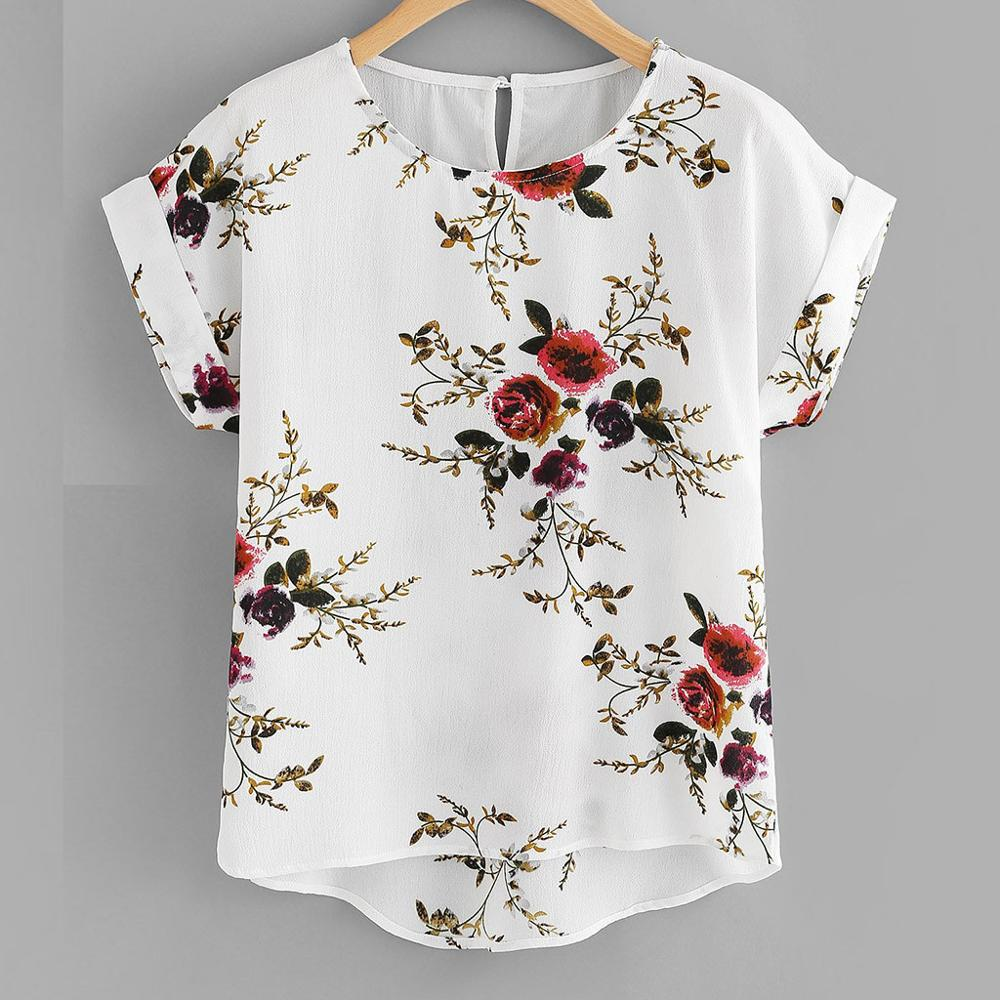 Summer  Floral Print Female  Blouse Pullover Ladies O-Neck Tee Tops - BLANC BLANK