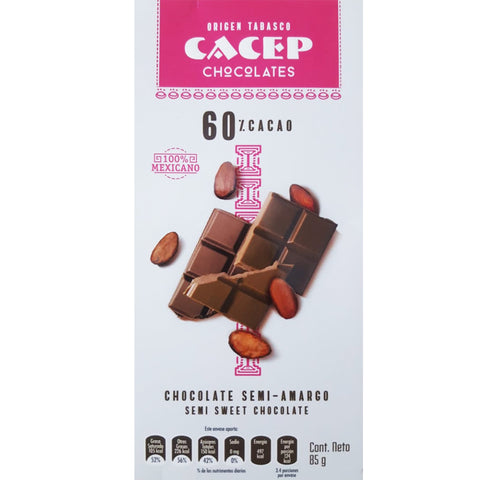 Barra de Chocolate Semi-amargo 60% cacao - 85 g