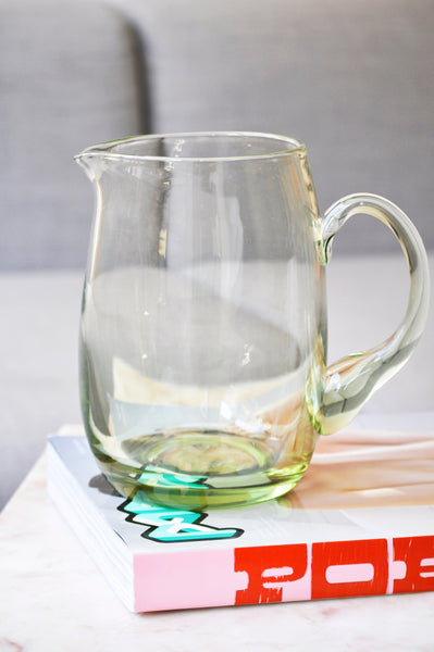 VINTAGE GREEN GLASS BIG PITCHER