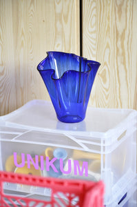 VINTAGE BIG WAVY BLUE GLASS VASE